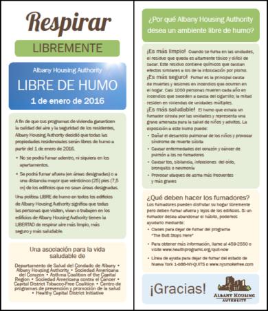 AHA - Smoke Free Insert - Spanish