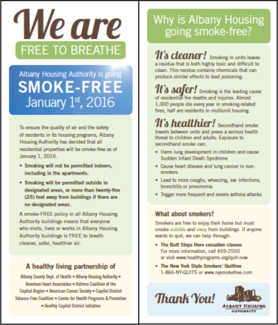 AHA - Smoke Free Insert - English