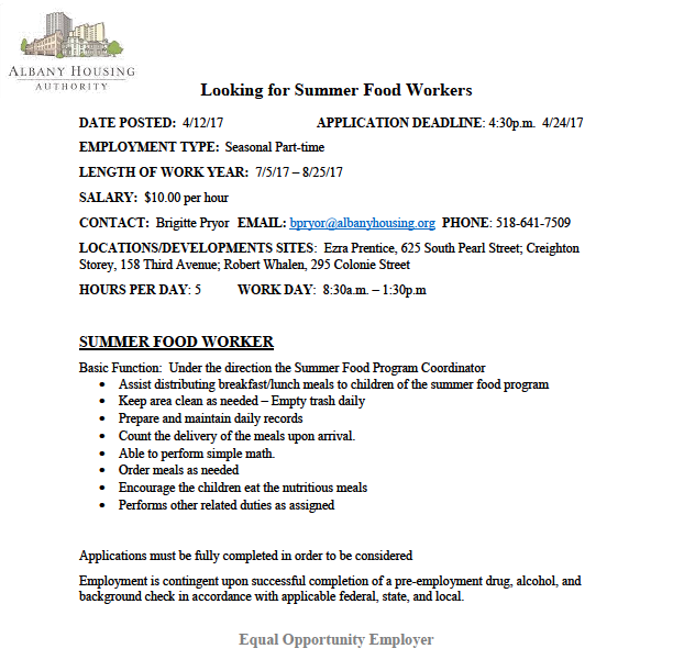 Looking for Summer Food Workers