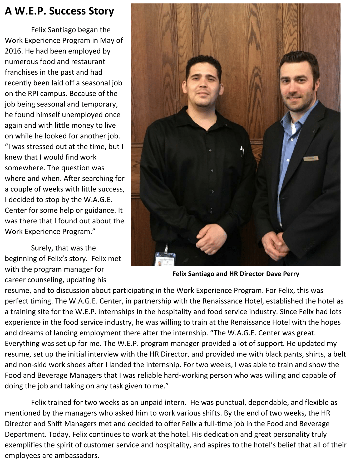 A WEP Success Story- Felix Santiago